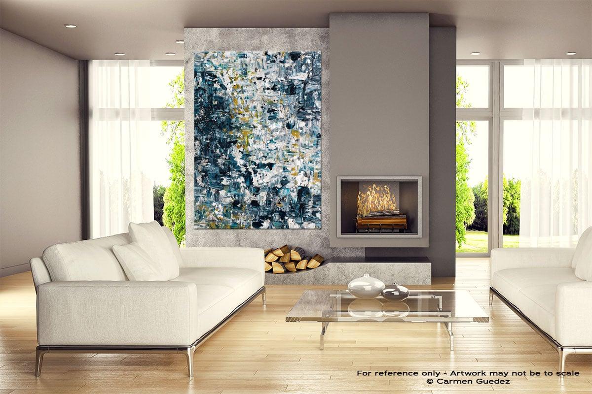 Niagara Falls Gray Abstract Wall Art Painting Id18