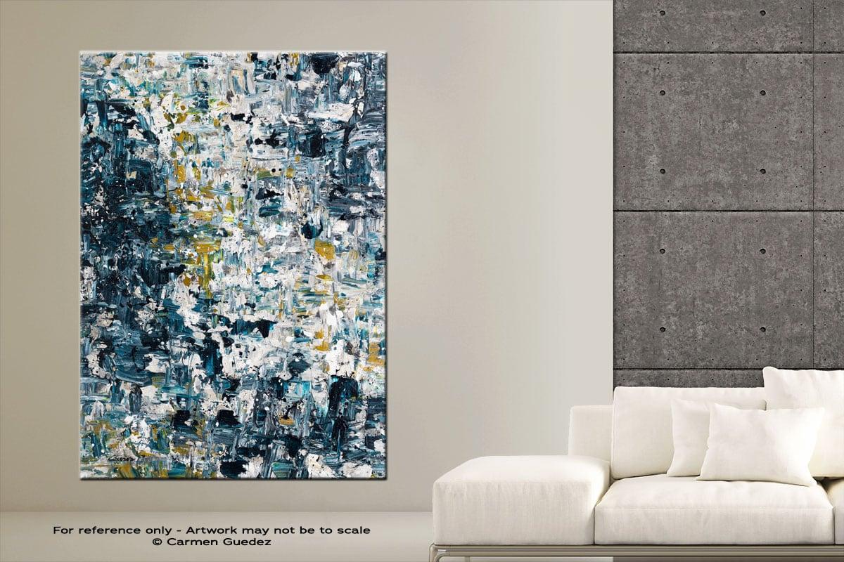 Niagara Falls Vertical Abstract Art Painting Large Id76
