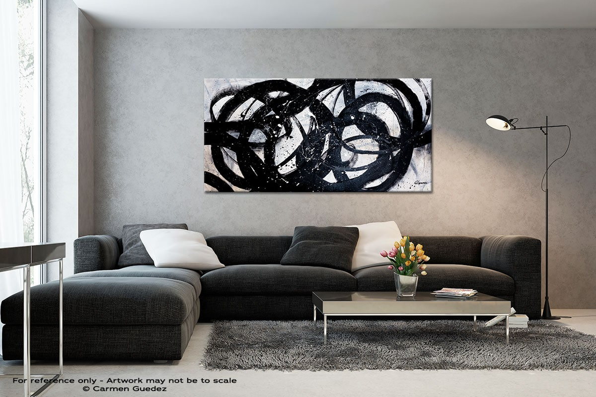 Night Shadow Black And White Abstract Art Living Room Id2