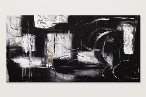 Noir Et Blanc Black And White Abstract Art Painting Id80