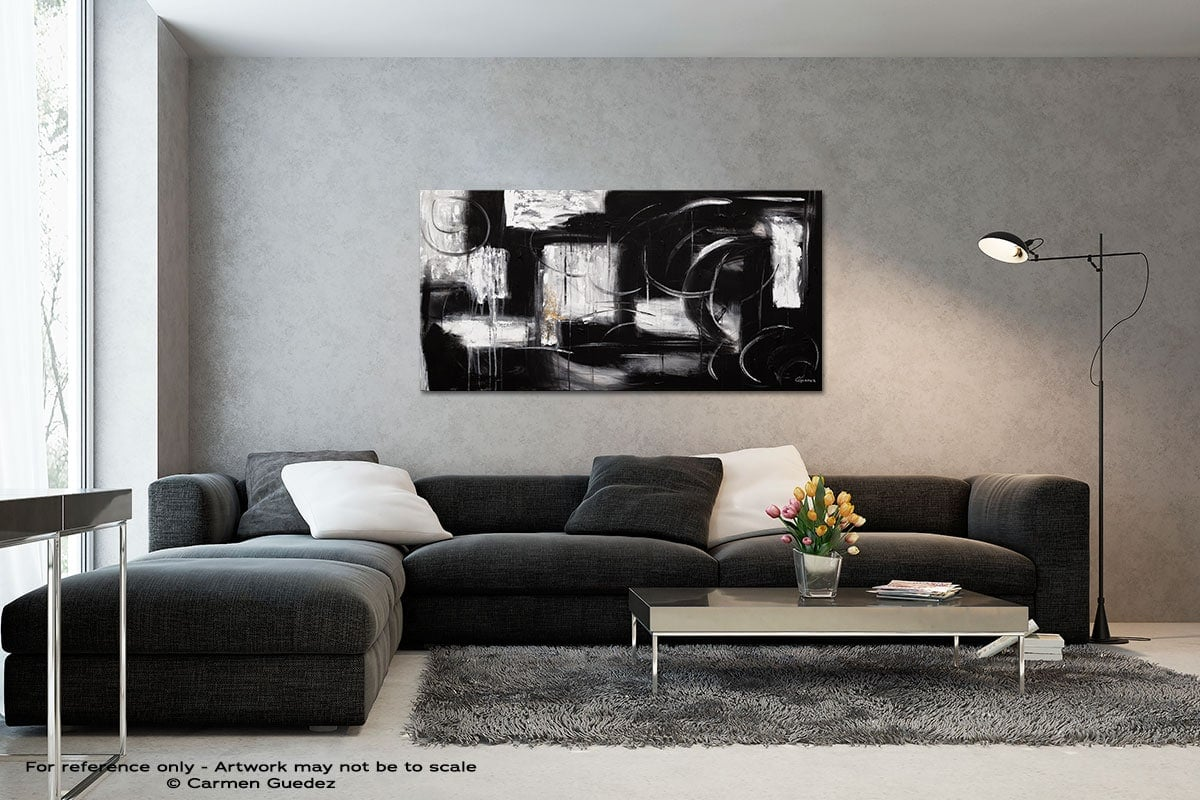 Noir Et Blanc Black And White Wall Abstract Art Painting Id70