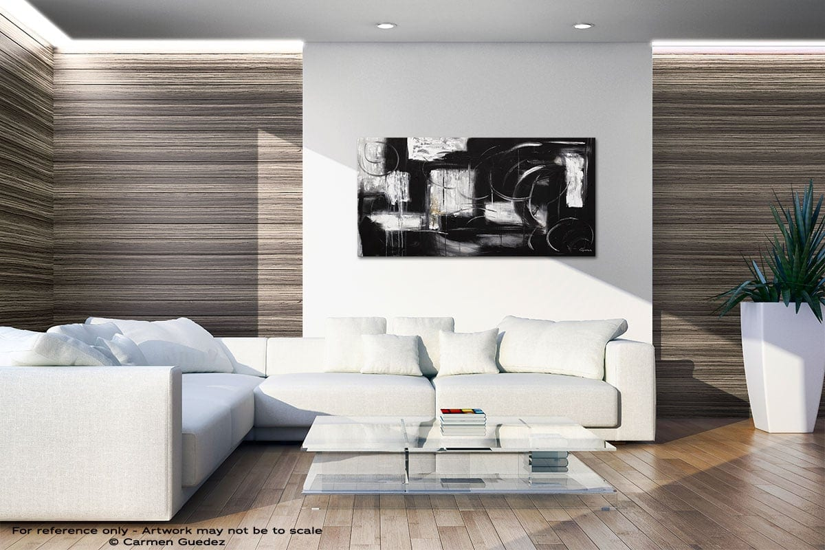 Noir Et Blanc Large Abstract Art Id36