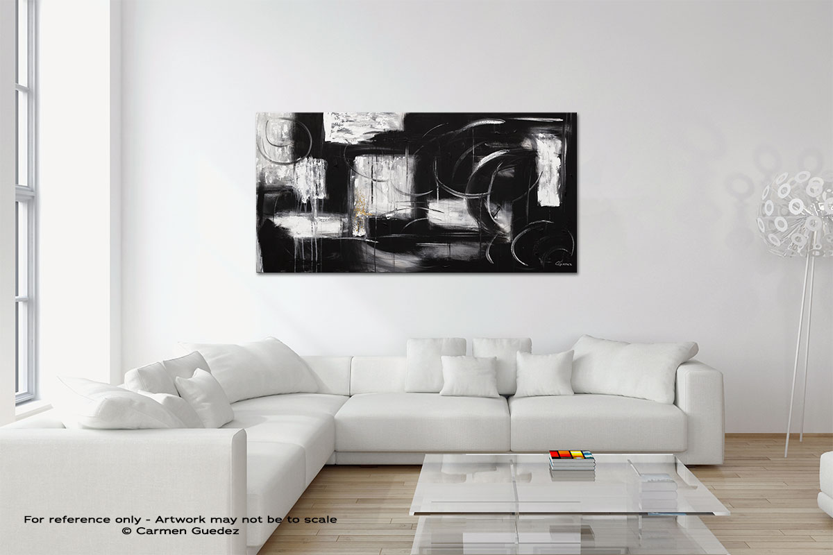 Noir Et Blanc Original Neutral Abstract Wall Art Room Id39