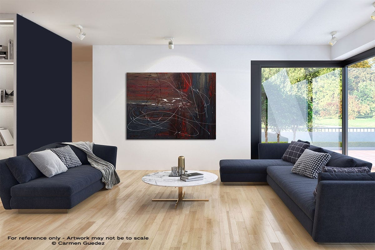 Not So Distant Past Modern Blue Abstract Painting Home Id50