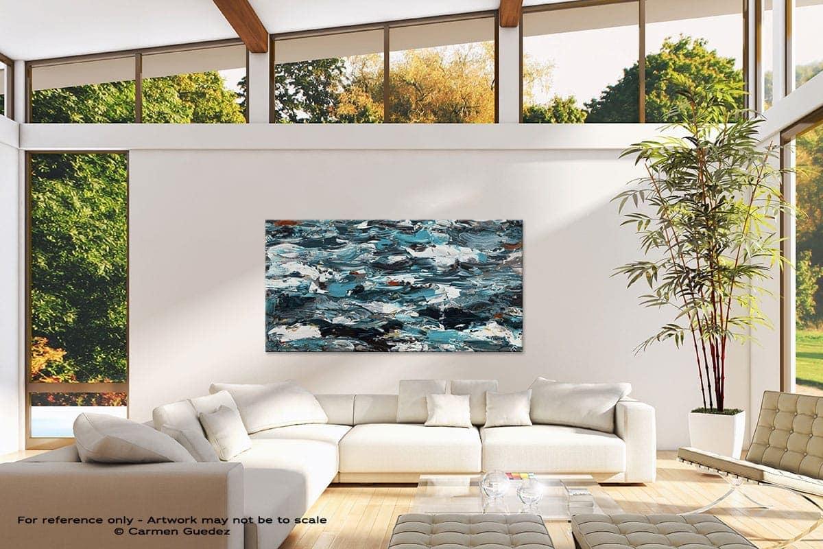 Oversized Contemporary Abstract Wall Art Id10 Aquamarine Adventure