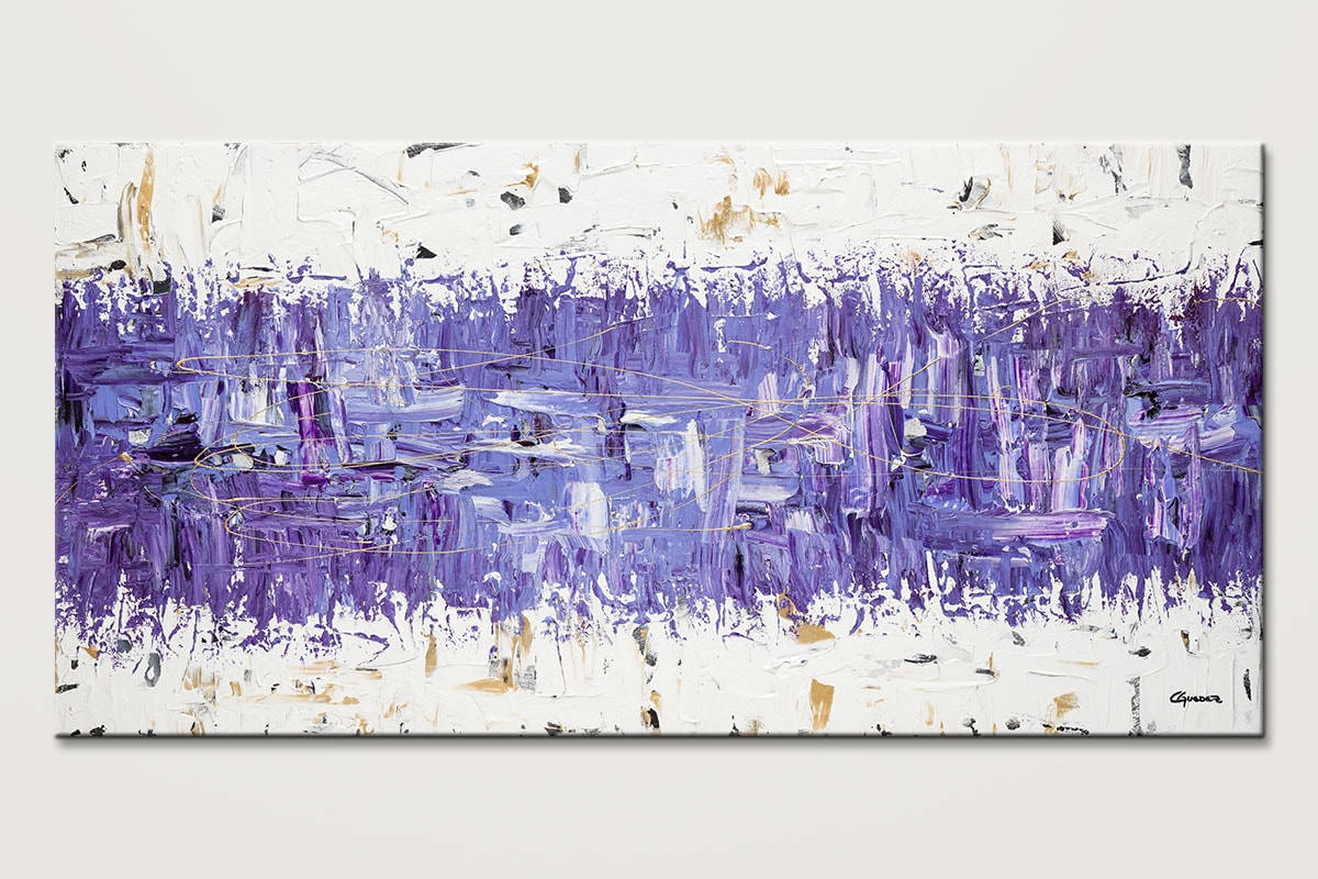 Purple Story - Abstract Art Painting Image by Carmen Guedez & Modern Abstract Art - Purple Story - Contemporary Wall Art Canvas ...