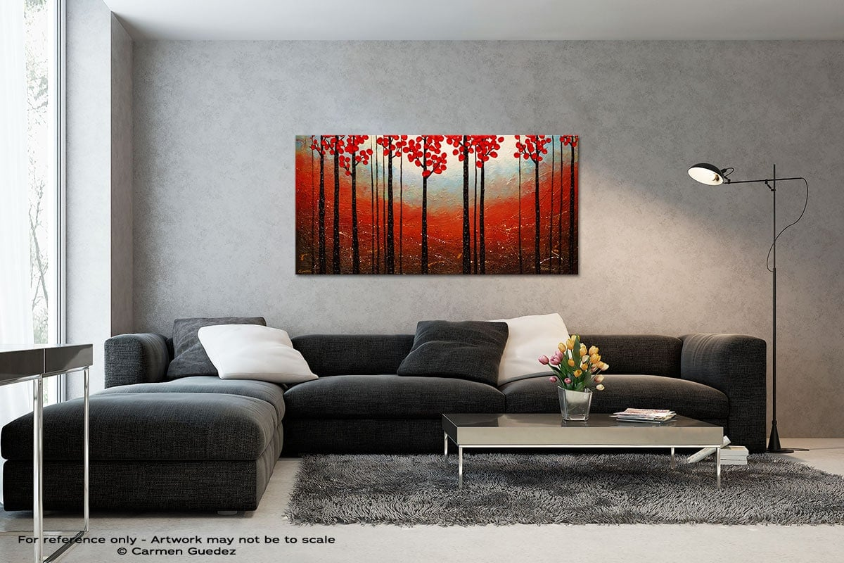 Red Blossom Black And White Wall Abstract Art Painting Id70