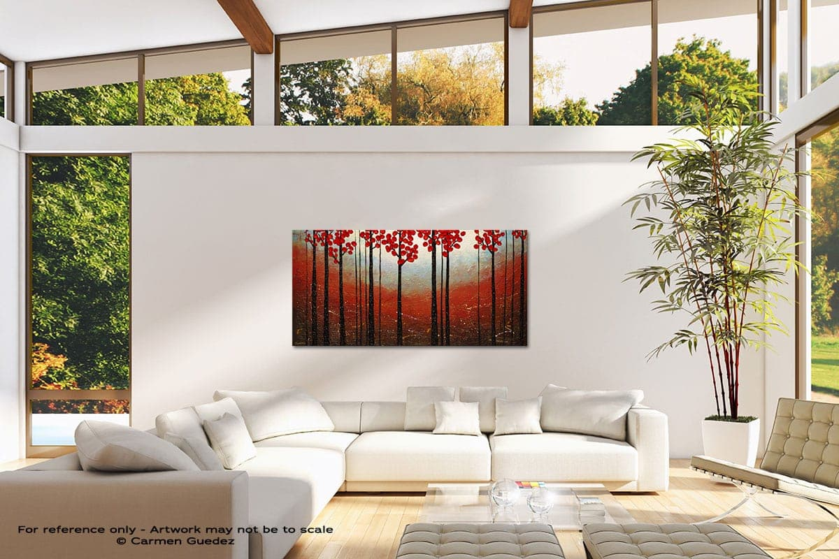 Red Blossom Modern Canvas Abstract Art Id38