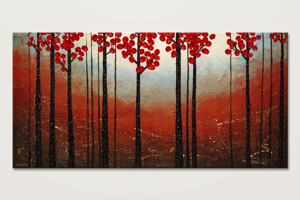 Red Blossom Modern Landscape Abstract Art Id80