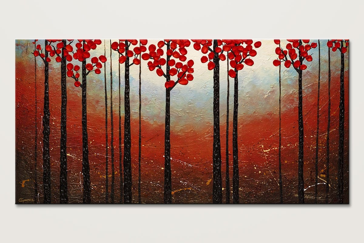 Red Blossom - Abstract Art Painting Image by Carmen Guedez
