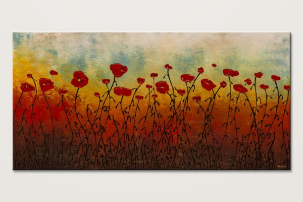 Red Flower Field Abstract Painting Of Flowers Id80