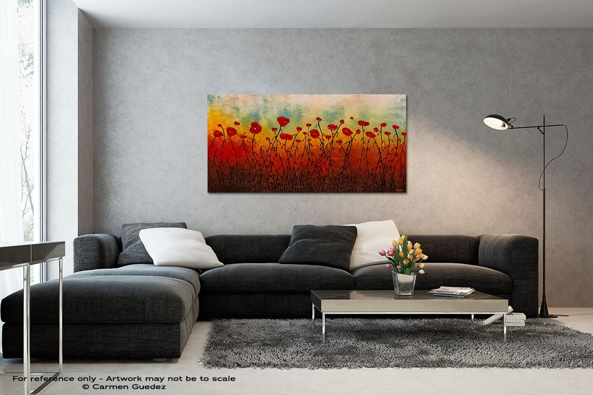 Red Flower Field Black And White Wall Abstract Art Painting Id70