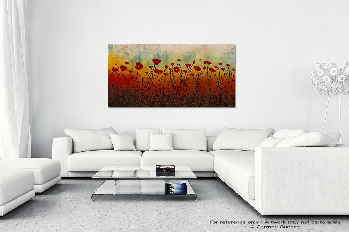 Red Flower Field Wall Art Canvas Painting Id40