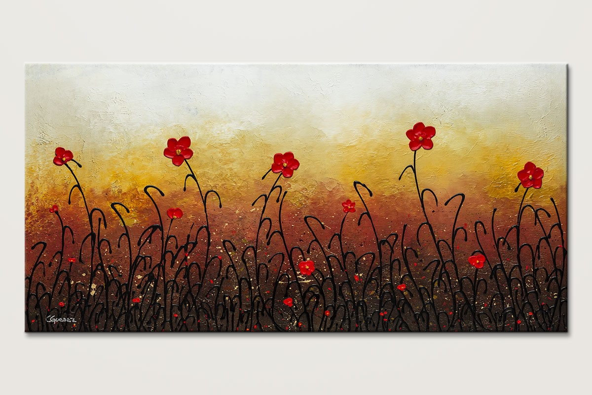 Red Flower Garden Abstract Art Painting Of Flowers Id80