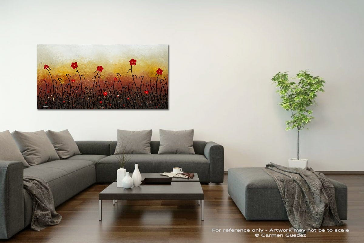 Red Flower Garden Acrylic Gray Wall Art Painting Id34