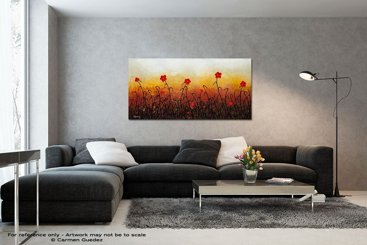 Red Flower Garden Black And White Wall Abstract Art Painting Id70
