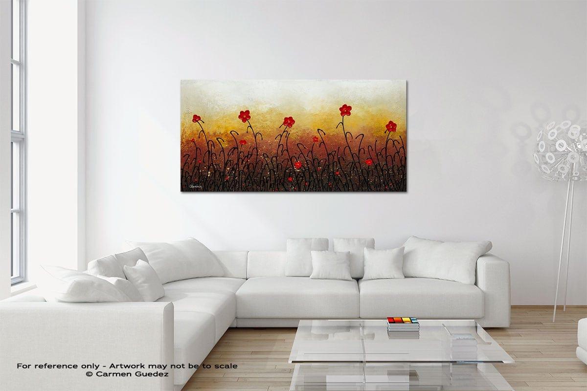 Red Flower Garden Original Neutral Abstract Wall Art Room Id39