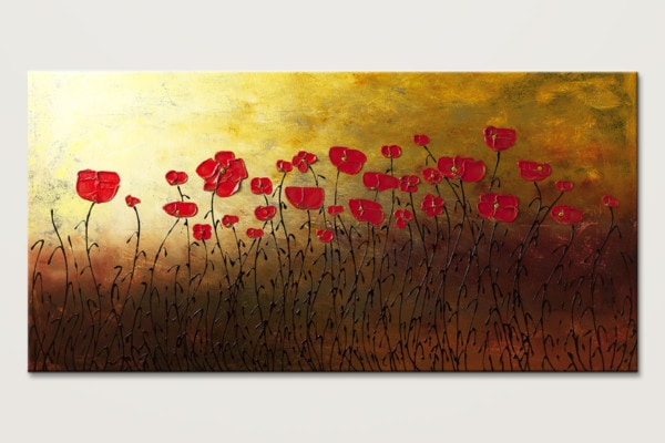 Red Flowers Sunset Landscape Abstract Art Id80