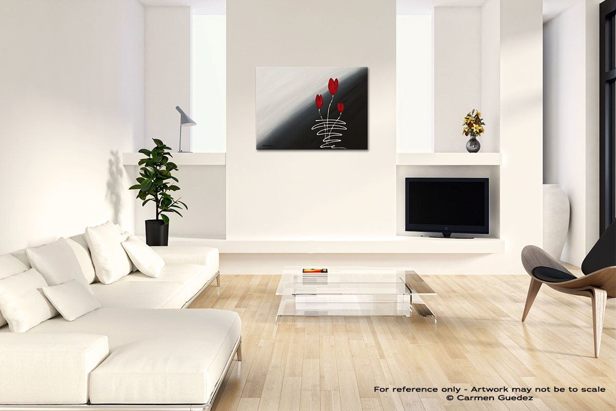 Red Tulips Acrylic Abstract Art Black And White Room Id63