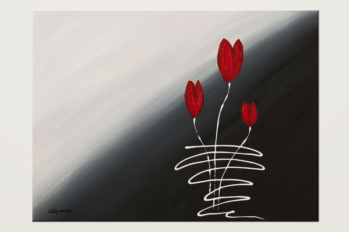Red Tulips Black And White Abstract Art Id80