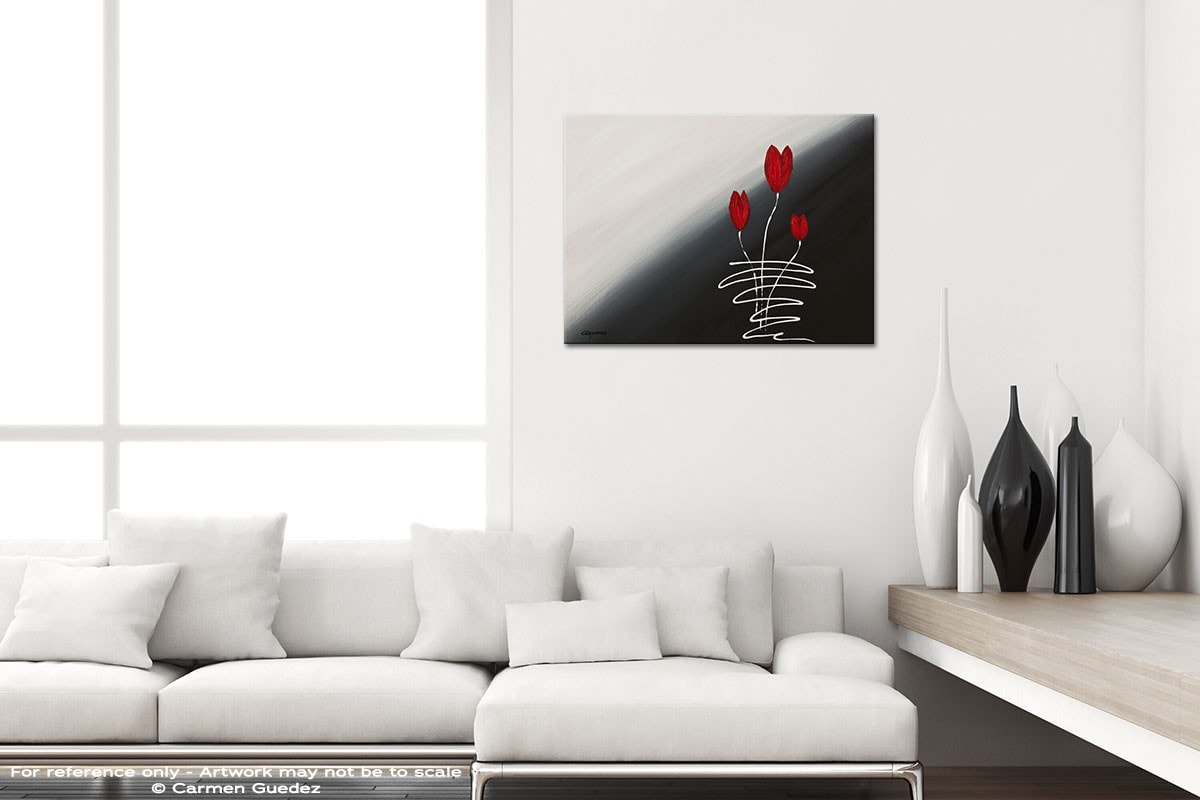 Red Tulips Black And White Home Design Abstract Art Id64