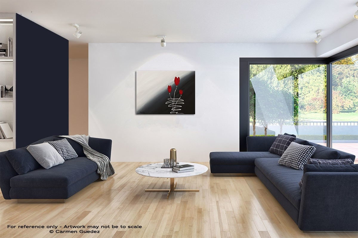 Red Tulips Modern Wall Art Painting Living Room Id65