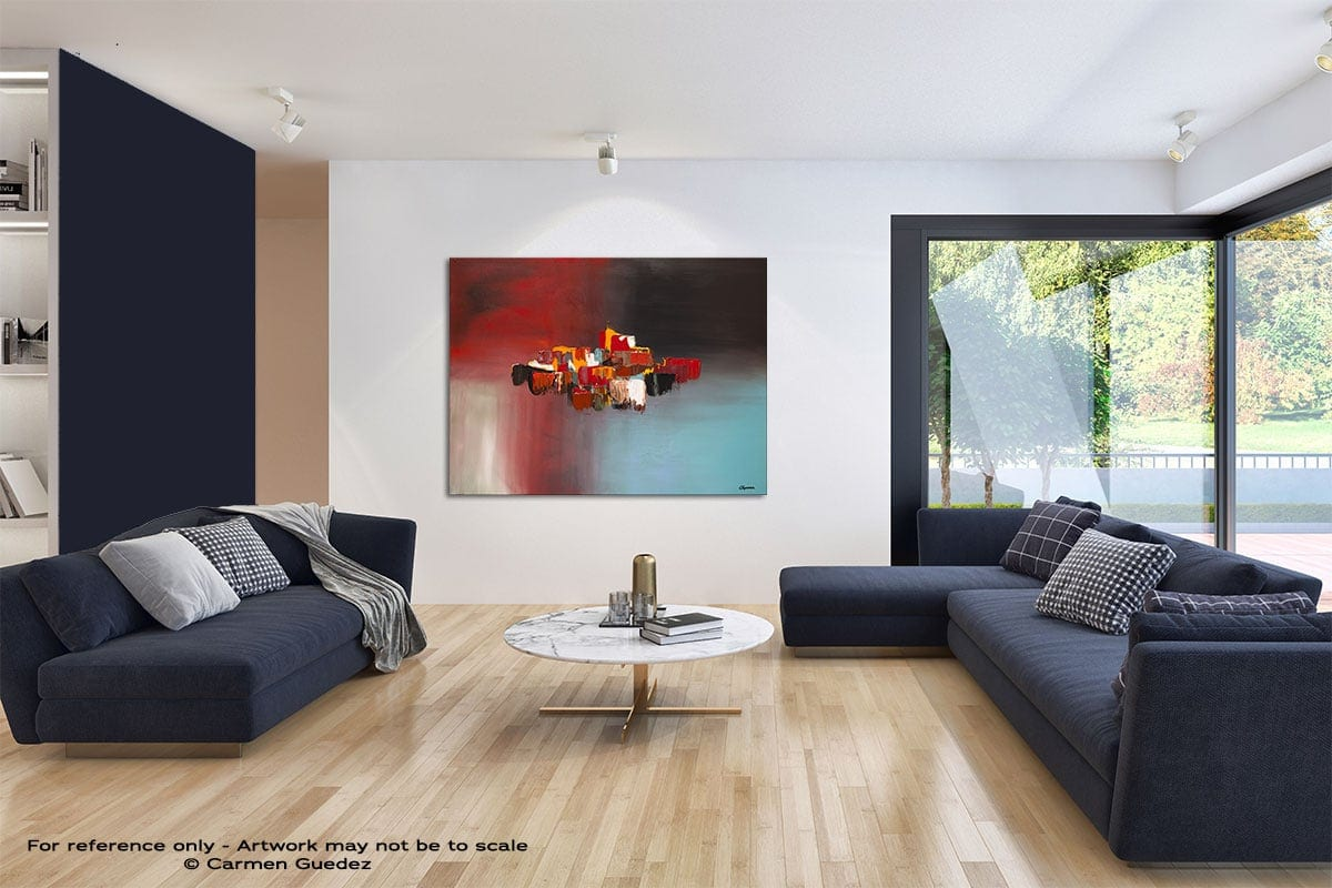 Rush Hour Modern Blue Abstract Painting Home Id50