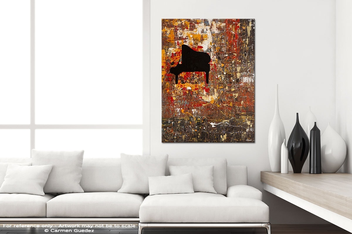 Solemnis Modern Vertical Black And White Interior Abstract Art Id54
