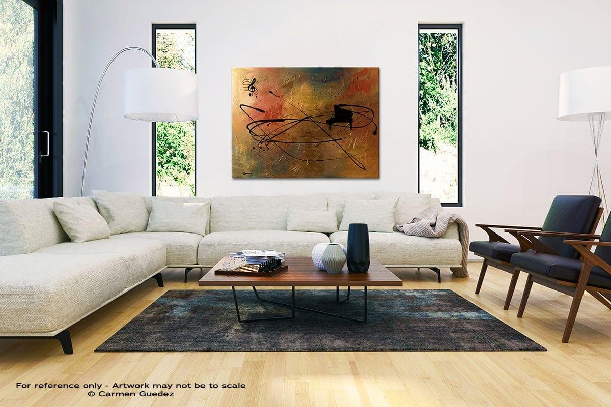 Solo Piano Black And White Interior Decor Abstract Art Id46