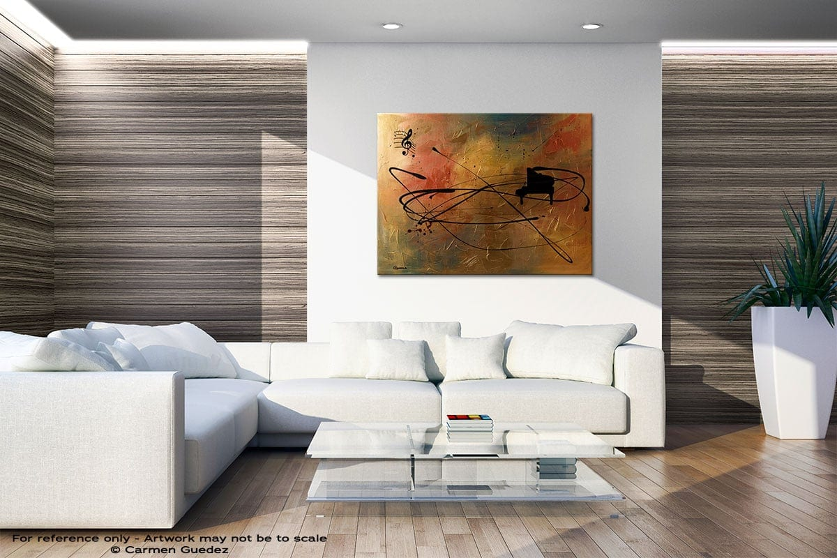 Solo Piano Neutral Wall Abstract Art Home Id51