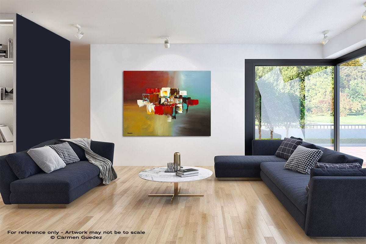 Spanning Boundaries Modern Blue Abstract Painting Home Id50