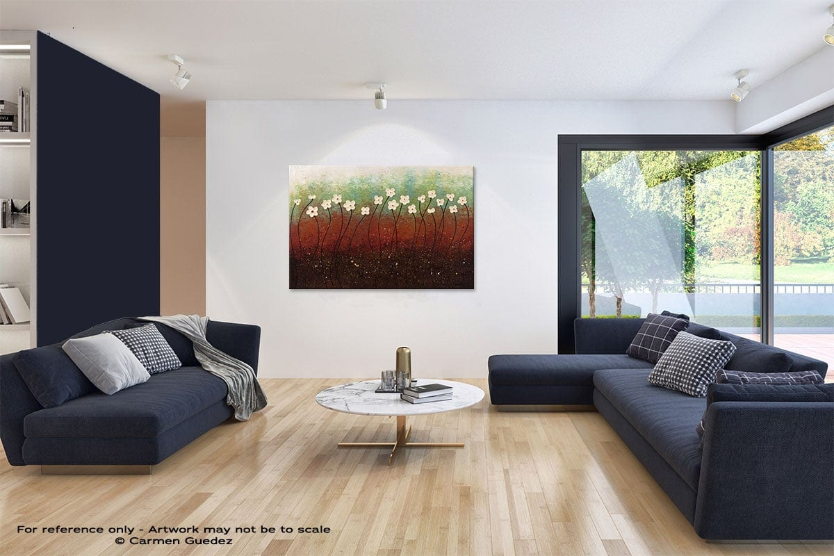 Summer Flowers Abstract Art Blue Interior Home Id59