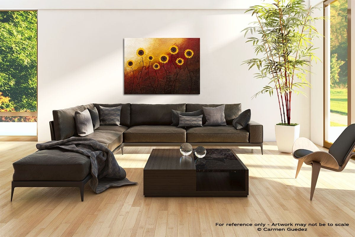Sunflower Garden Abstract Painting Modern Home Id69