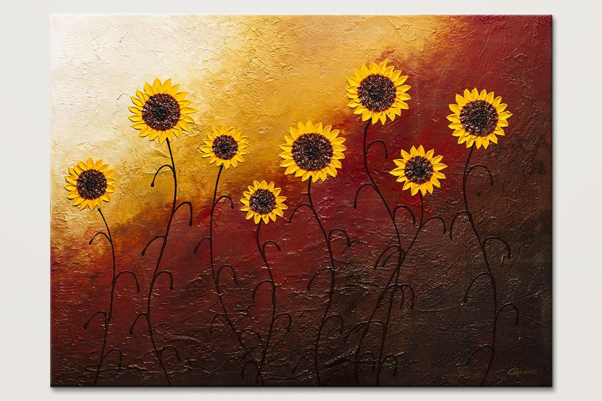Sunflower Garden Abstract Wall Art