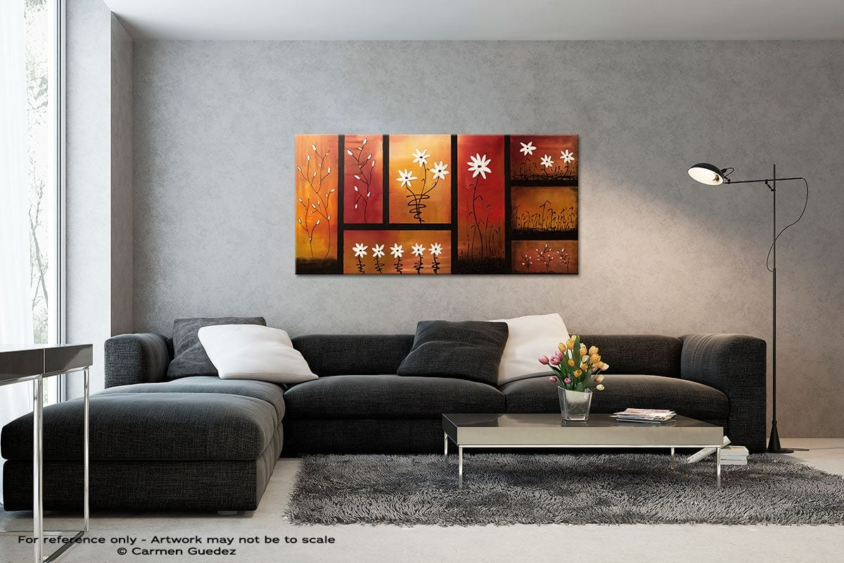 Sunset Garden Black And White Wall Abstract Art Painting Id70