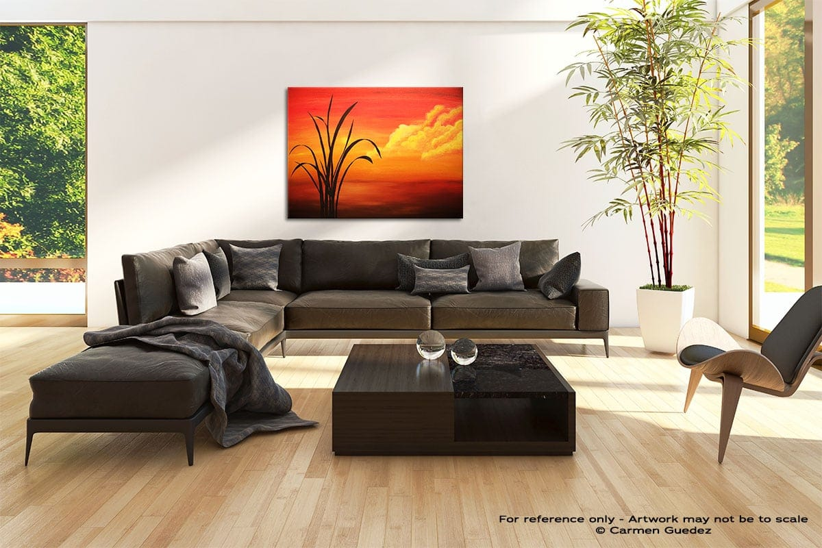 Sunset Palm Abstract Painting Modern Home Id69