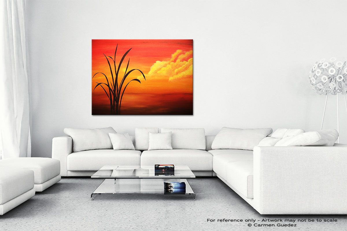 Sunset Palm Canvas Art Abstract Painting Id47