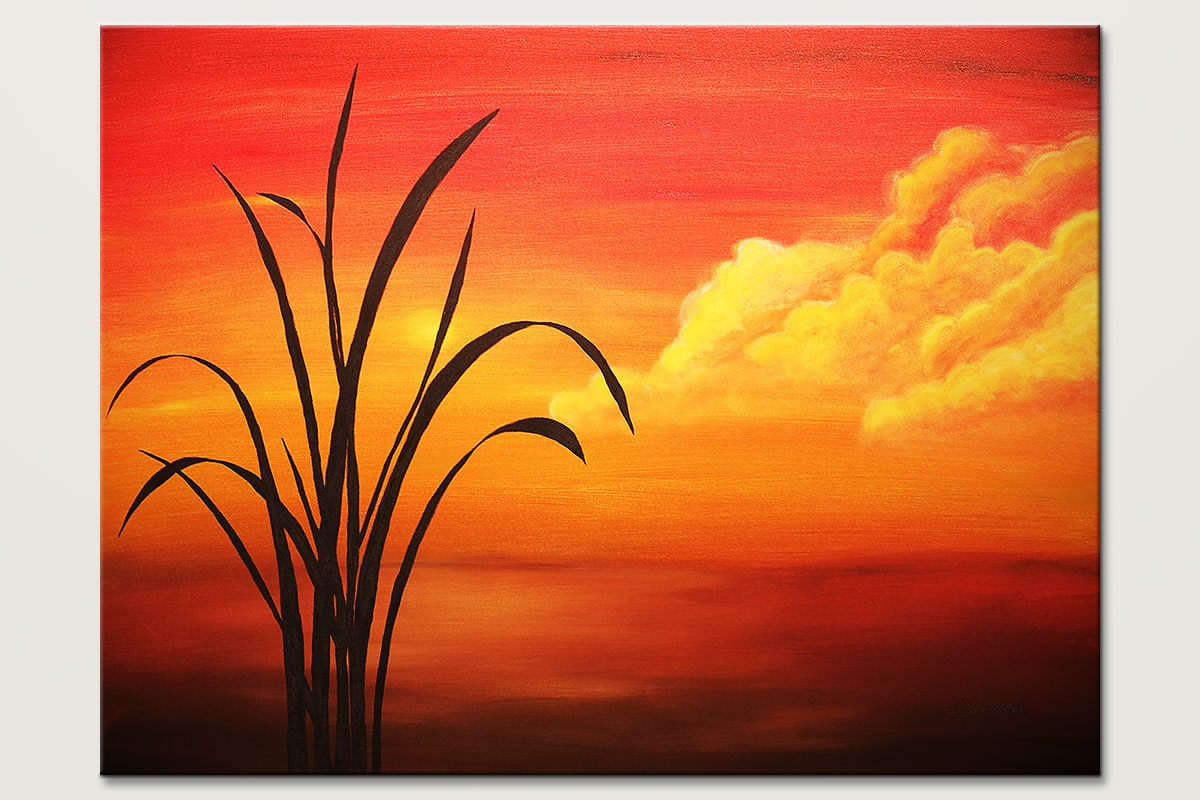 Sunset Palm Landscape Abstract Art Painting Acrylic Wall Art Canvas For Living Room Sunset Landscapes Cgmodernart