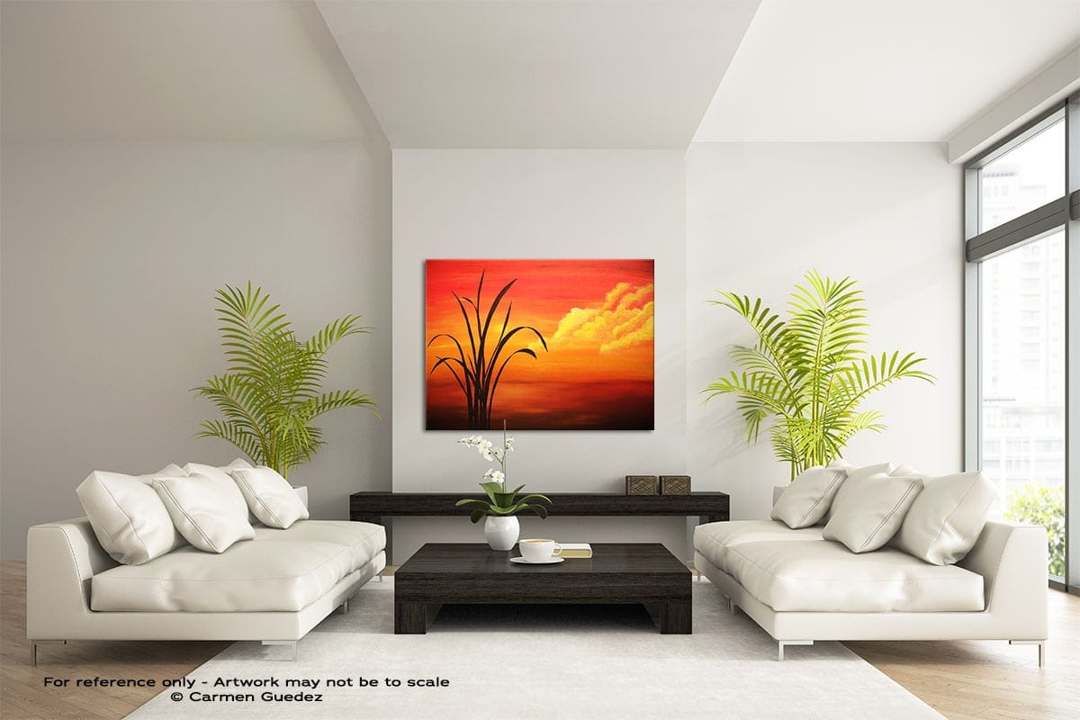 Sunset Palm Large Modern Abstract Art Painting Id49