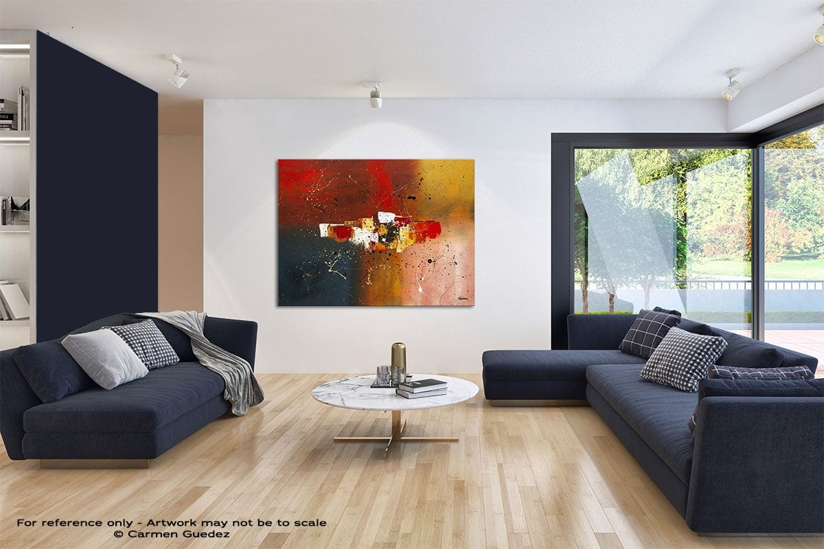 Supernova Modern Blue Abstract Painting Home Id50