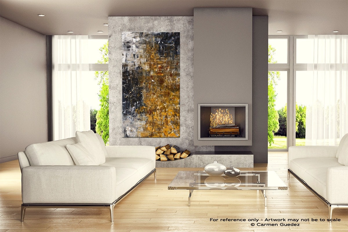 The Golden River Abstract Canvas Painting Home View Id11