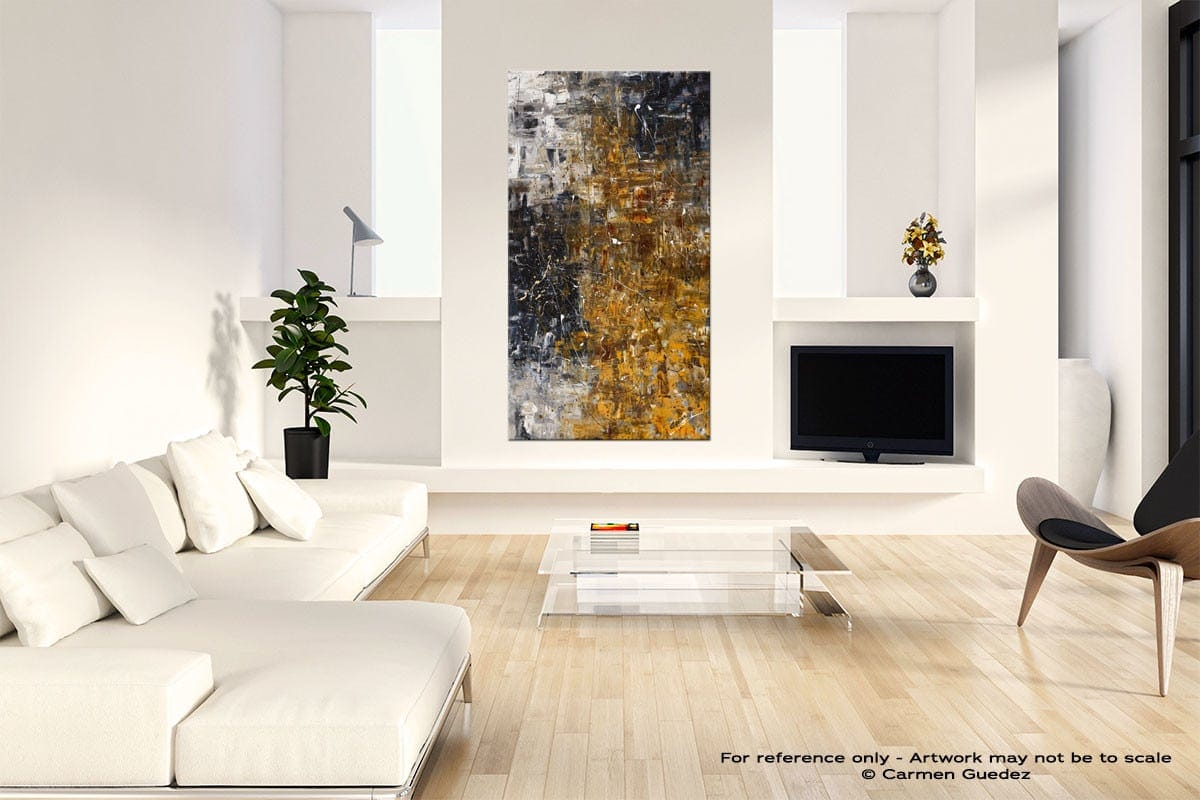 The Golden River Neutral Wall Art Abstract Painting Id14