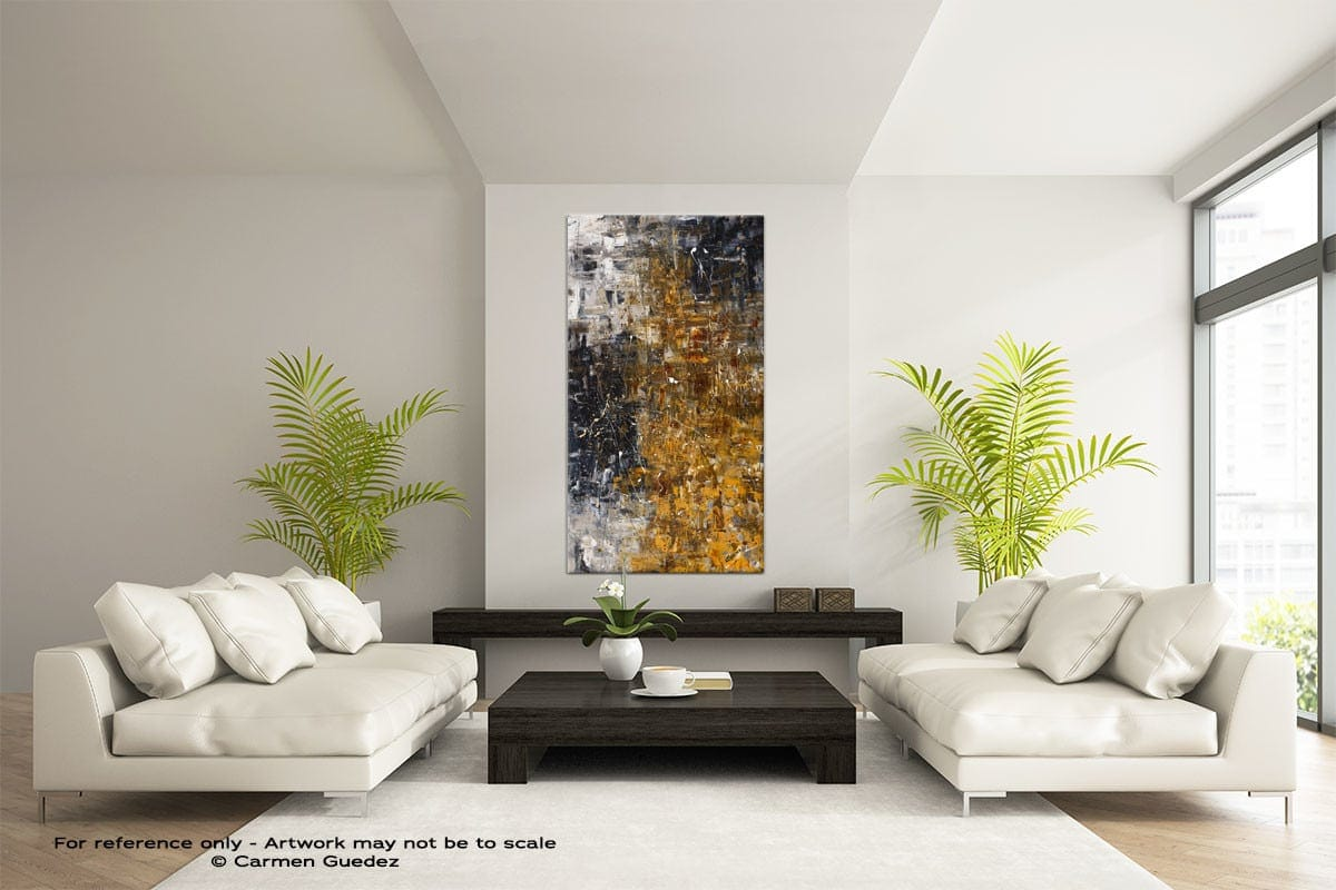 The Golden River Vertical Large Abstract Painting Id16