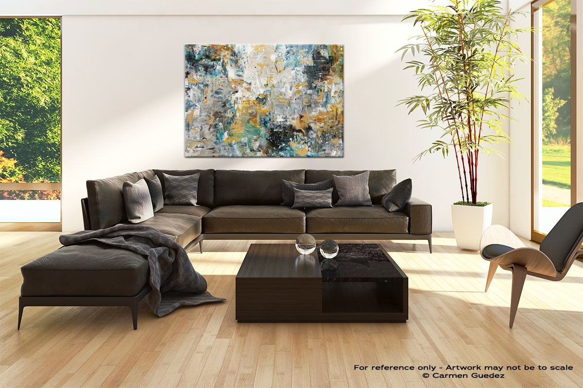 The Hills Abstract Art Painting Black Living Room Id67