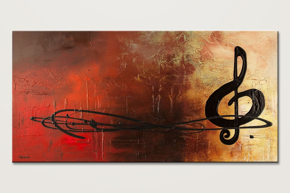 Music Abstract Art Painting-the-pause-Music Abstract Art Paintings by Carmen Guedez - Image