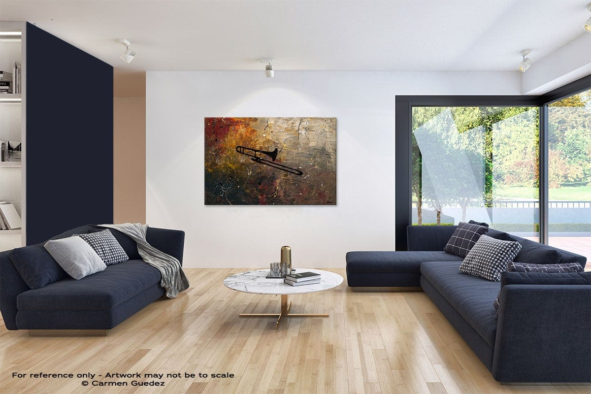 The Trombone Abstract Art Blue Interior Home Id59