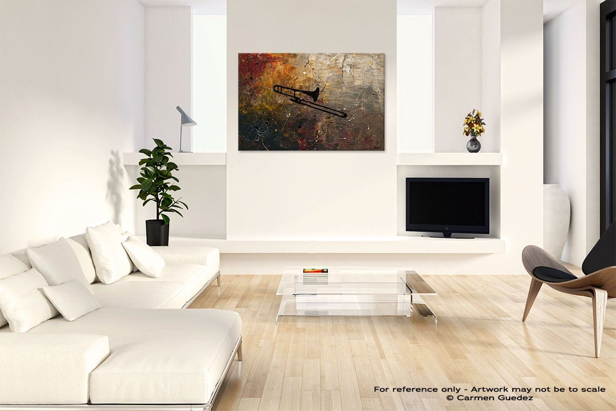 The Trombone Abstract Art Painting Interior Living Room Design Id60