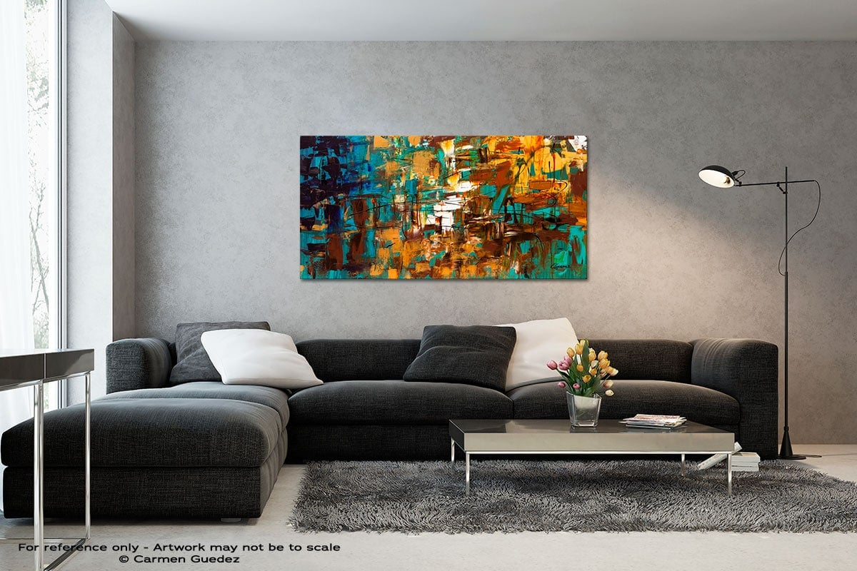 Turquoise Scent Black And White Wall Abstract Art Painting Id70