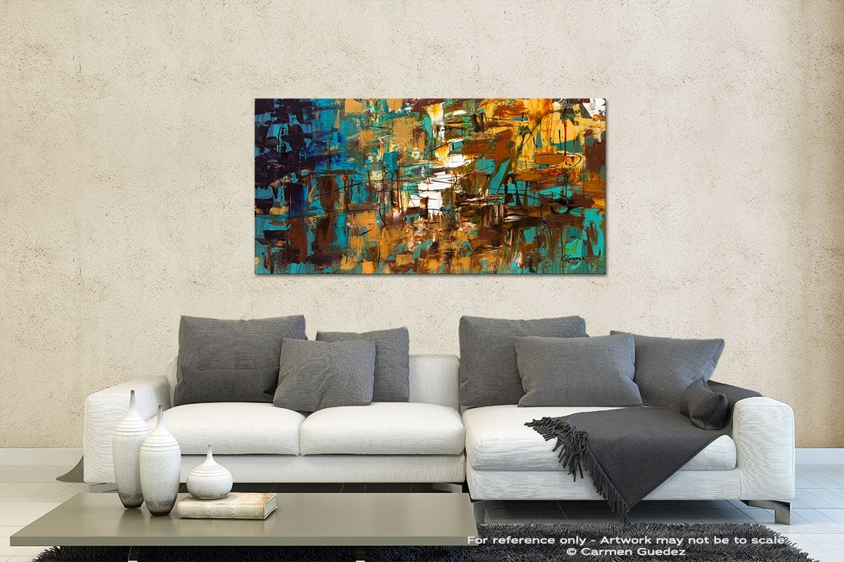 Turquoise Scent Contemporary Abstract Art Id35