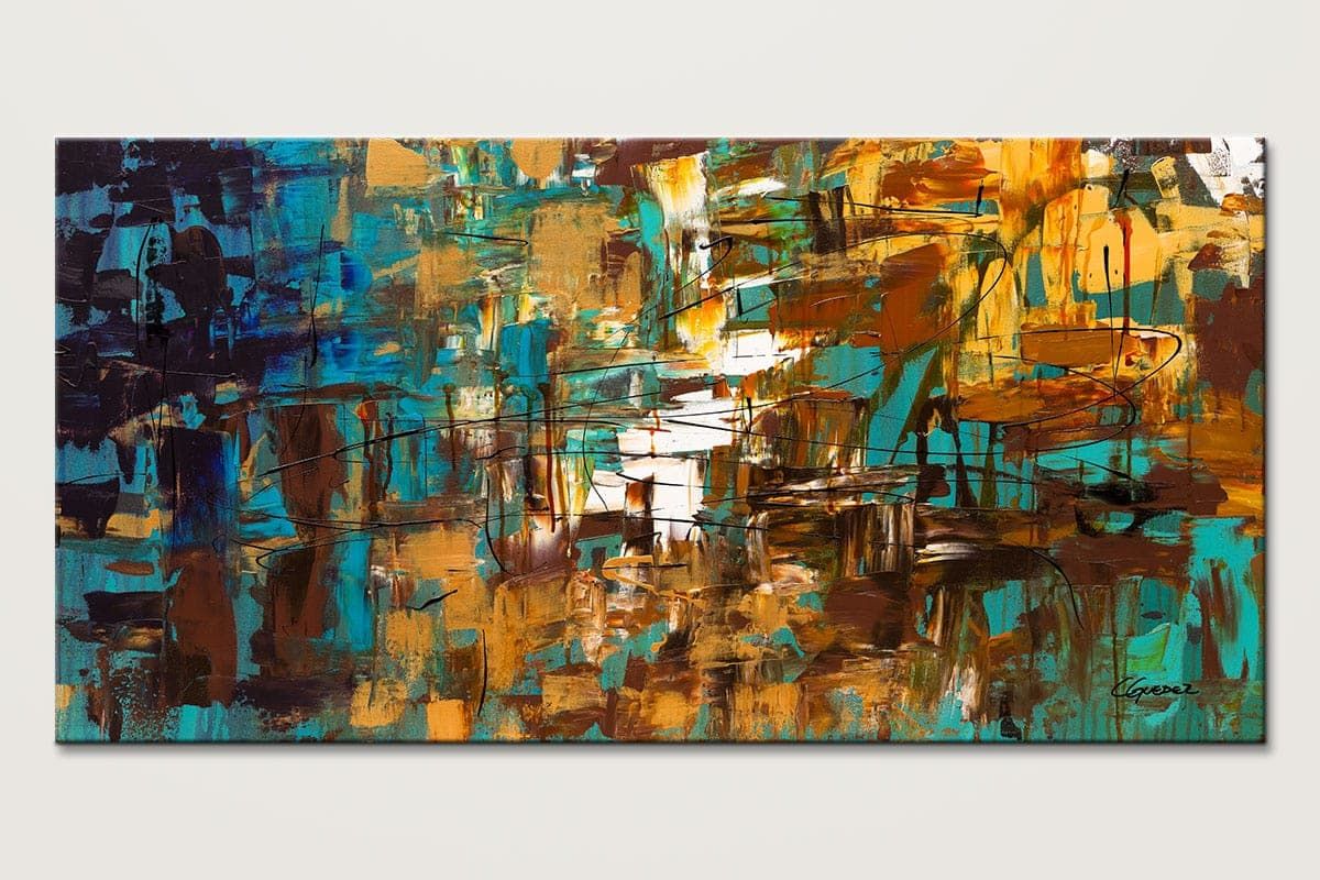 Turquoise Scent Original Abstract Art Painting Id80
